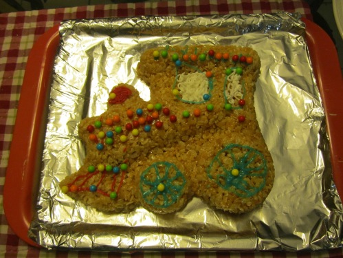 Rice Krispie train -- gone, thanks to grandson and papa.