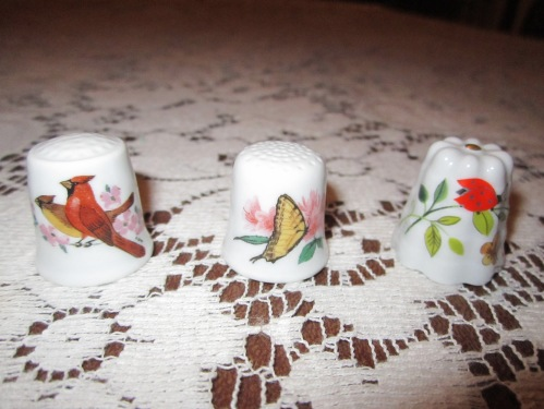 Cardinals, Porcelana Ancap - Italy; Butterfly by ELG & ELG - Sweden;  Lady Bug by Kronach - Germany
