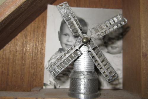 Dutch windmill with a photo of my brother and me behind it.  Oops-please pardon the dust.
