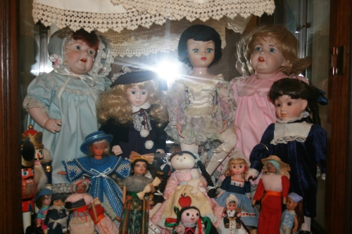 The blue and pink were more hand-pieced dolls.