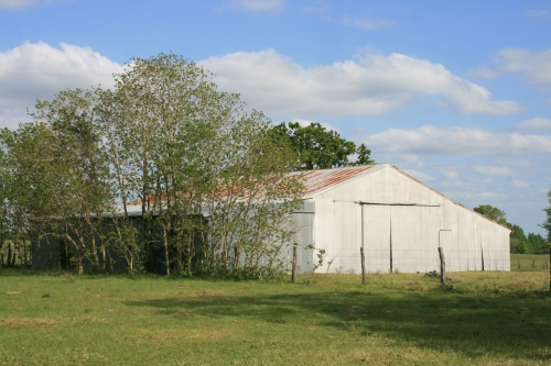 The big barn with a rusty metal roof.
