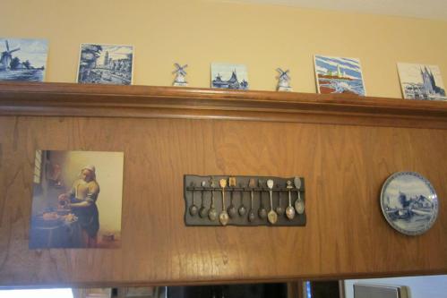 My favorite arrangement.  Delft, Vermeer and silver spoons.