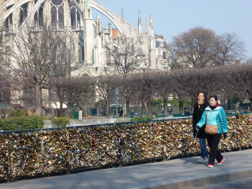 The Pont de l'Archevêché is one site of the Lover's locks.  It connects the Cité where Notre Dame is located to the left bank.   Photo credit: Jan