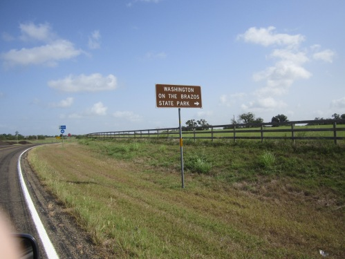 The brown sign indicates we're almost there and the blue sign marks the Texas Independence Trail.