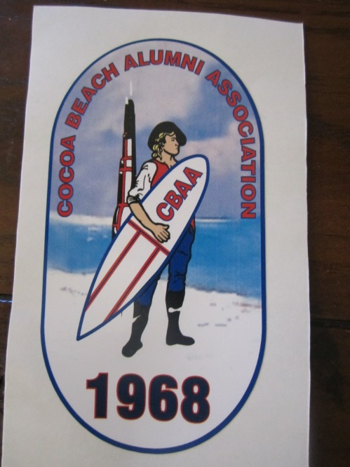 "Decal for the Alumni Association of my high school.  Mascot: the Minuteman rocket and the Revolutionary War Minuteman.  Motto: ""Never say die."""